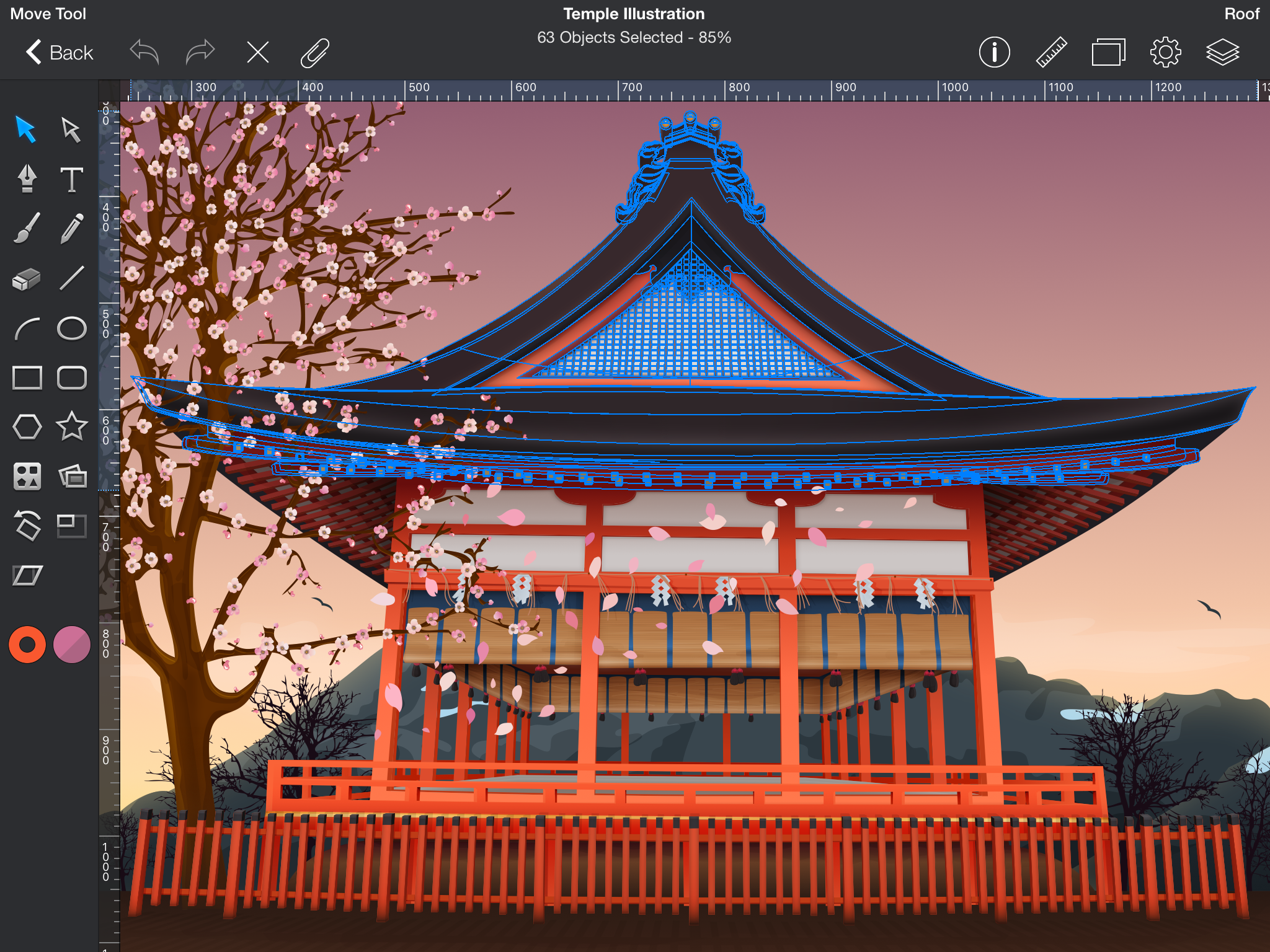 Drawing of a Japanese-style building on an iPad screen