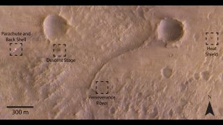 The ESA-Roscosmos Trace Gas Orbiter has spotted NASA's Mars 2020 Perseverance rover, along with its parachute and back shell, heat shield and descent stage, in the Jezero Crater region of Mars.