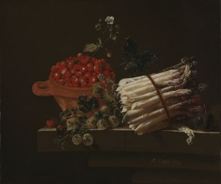 Adriaen Coorte. Still Life with Strawberries, Gooseberries and Asparagus. 1703. © The National Gallery, London