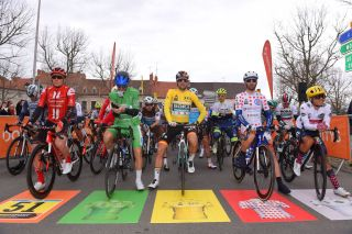 The riders line-up for stage 5 in Gannat