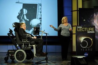 Stephen Hawking Speaks During NASA Lecture Series