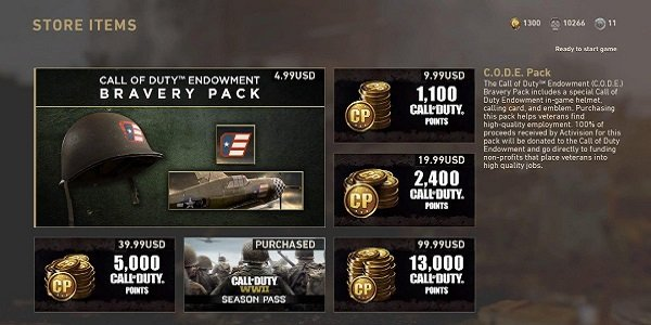 The microtransactions storefront in Black Ops 4.