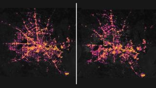 The left image shows the Houston area in the middle of the night on Feb. 7, before a potent arctic weather system hit the state. The right image shows the power outages still occuring on Feb. 16.
