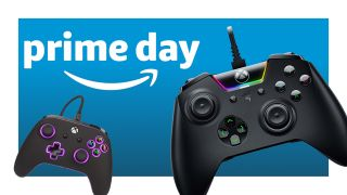 A Amazon Prime logo next to two controllers on a blue background