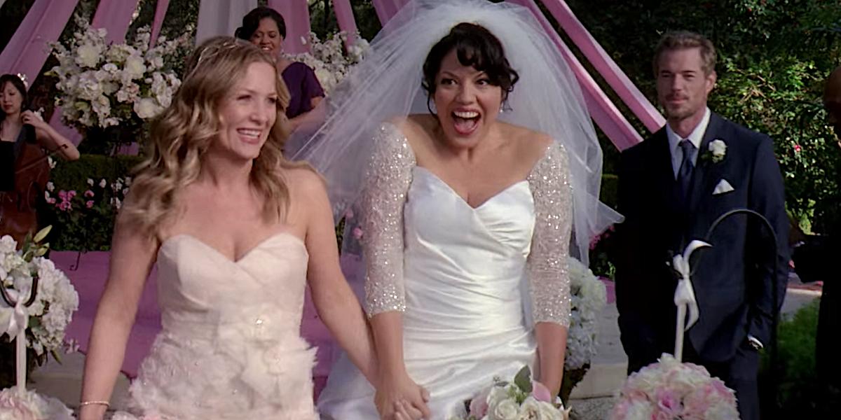 Grey's Anatomy Callie and Arizona smile after their wedding ceremony