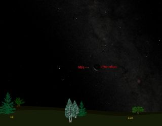 Sky map to see Mars and moon together on Aug. 25, 2011 before sunrise.