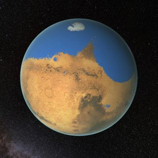 An artist's depiction of water on ancient Mars.
