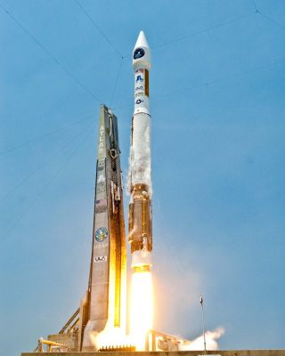 A United Launch Alliance Atlas 5 rocket blasts off from Space Launch Complex-41 at the Cape Canaveral Air Force Station in Florida with the Air Force's Space Based Infrared Systems (SBIRS) GEO-1 satellite on May 7, 2011. Liftoff occurred at 2:10 p.m. EDT
