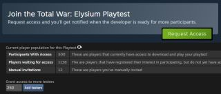 Screenshots of the Steam Playtest system.
