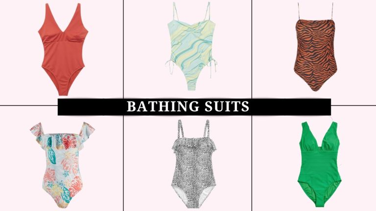 collage of the best bathing suits for body types