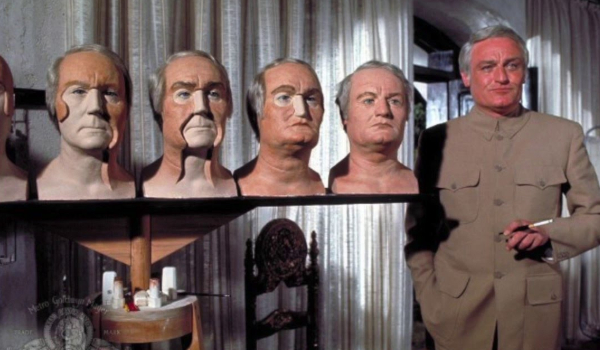 Diamonds Are Forever Blofeld stands in front of his plastic surgery model