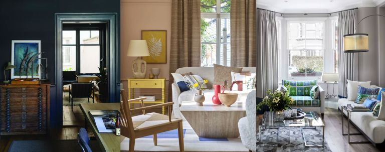 Living room color schemes shown in dark blue, creamy pink and gray-beige.
