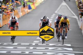 UAE Team Emirates' Tadej Pogacar edges out Jumbo-Visma's Primoz Roglic (right) and Sunweb's Marc Hirschi (centre) for the victory on stage 9 of the 2020 Tour de France