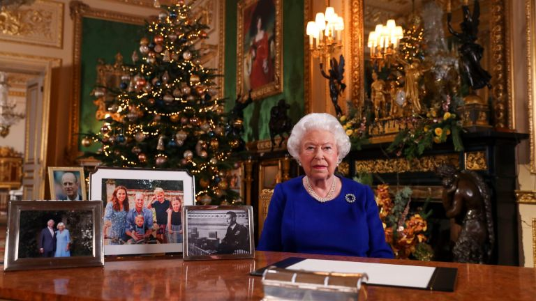 Britain's Queen Elizabeth II posing for a photograph after she recorded her annual Christmas Day message, in Windsor Castle, west of London