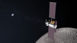 An artist's depiction of NASA's proposed lunar Gateway.