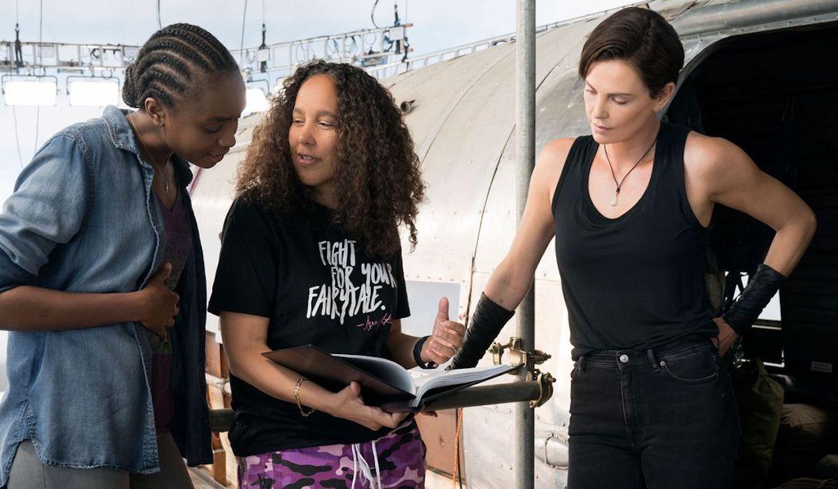 Kiki Layne, Gina Prince-Bythewood and Charlize Theron