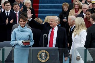 President Donald Trump waves after he is sworn into office on the West Front of the U.S. Capitol on Jan. 20, 2017, in Washington, DC.