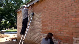 brick tinting being applied to a new extension