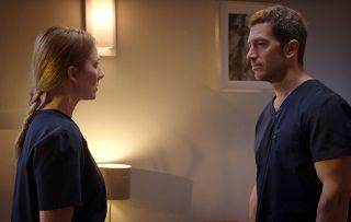 Holby Jac (Rosie Marcel) and Joseph (Luke Roberts)
