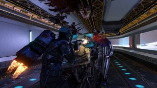 A player shoots at Zeds on the Moonbase map with the HRG Bastion with its energy shield activated.