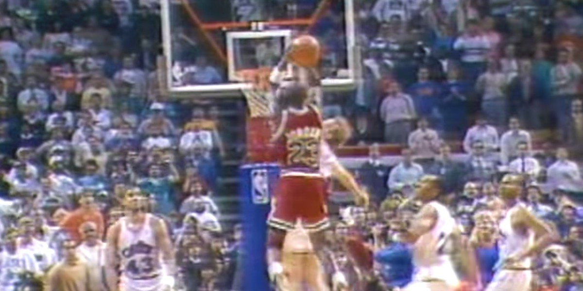 "Michael Jordan pulling off ""The Shot"""
