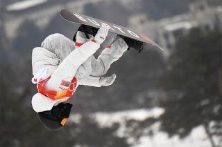 U.S. Olympian Shaun White in the men's snowboard halfpipe in Pyeongchang on Feb. 14, 2018.