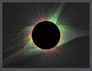 Special filters enabled a team of scientists, led by solar researcher Shaddia Habbal, to measure different temperatures in the sun's corona during total solar eclipses. The red colors show charged particles at 1.8 million degrees Fahrenheit (999,982 degrees Celsius), and the green colors show particles at double that temperature, 3.6 million degrees F (1,999,982 degrees C).