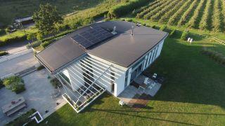 Hybrid solar panels installed on modern self build