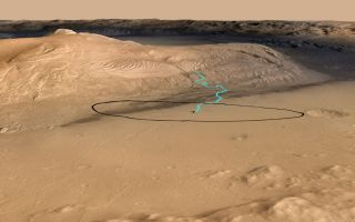 This NASA graphic released before the Mars rover Curiosity's Aug. 5, 2012, landing shows one possible route up Mount Sharp in Gale crater.