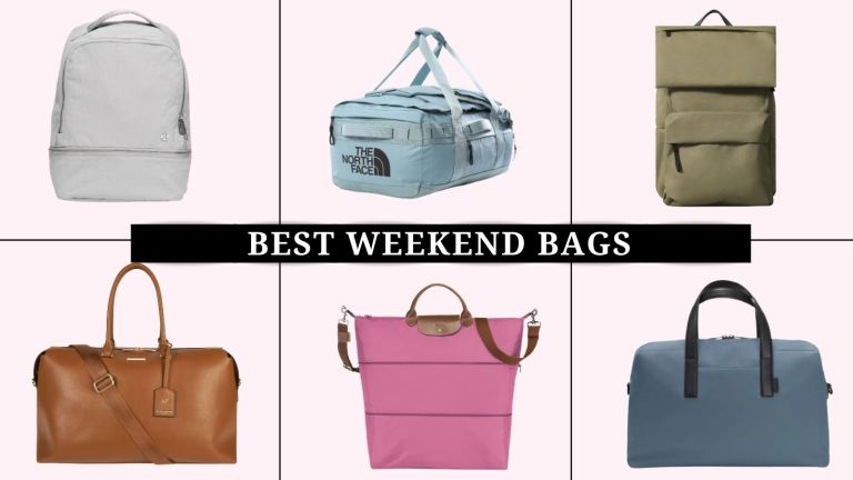 collage of the best weekend bags for women