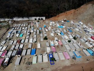 Graves in a new area of El Palmar cemetery reserved for COVID-19 victims in Acapulco, Mexico, on January 21, 2021.