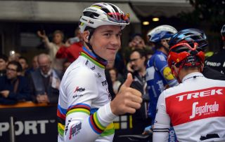 Trek-Segafredo's Mads Pedersen gives a thumbs up at the start of the 2019 Milano-Torino. The road race world champion will take part in RCS Sport's Challenge of Stars indoor race series in May 2020