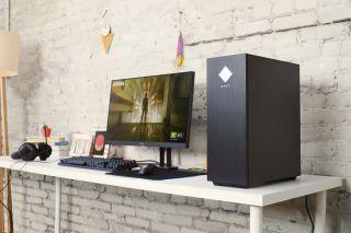 An HP Omen 30L gaming desktop.