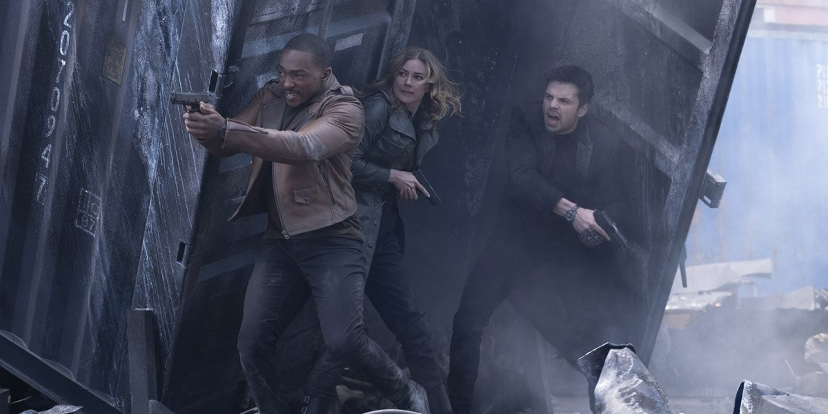 Sam Wilson/Falcon (Anthony Mackie) with The Winter Soldier (Sebastian Stan) and Agent 13 (Emily Van Camp) in a gun fight in The Falcon And The Winter Soldier