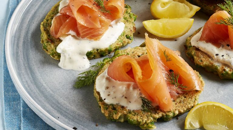 Pea and dill fritters with smoked salmon and creme fraiche
