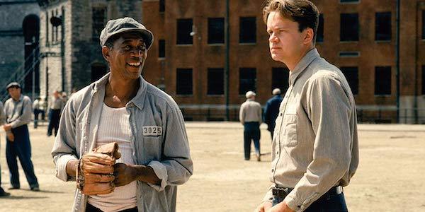 Morgan Freeman and Gil Bellows in Shawshank Redemption
