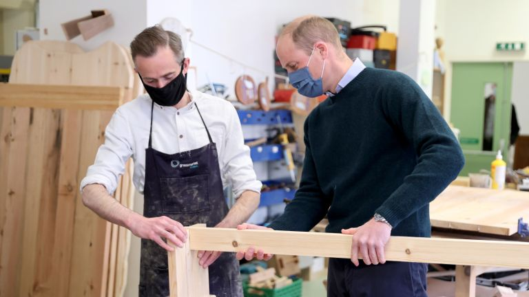 Prince William during his visit to the Grassmarket Community Project, a social enterprise set up by Greyfriars Kirk (Church of Scotland) on May 23, 2021 in Edinburgh, Scotland.