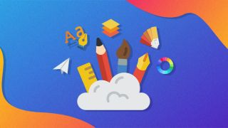 Icons of graphic design tools springing out from a cloud