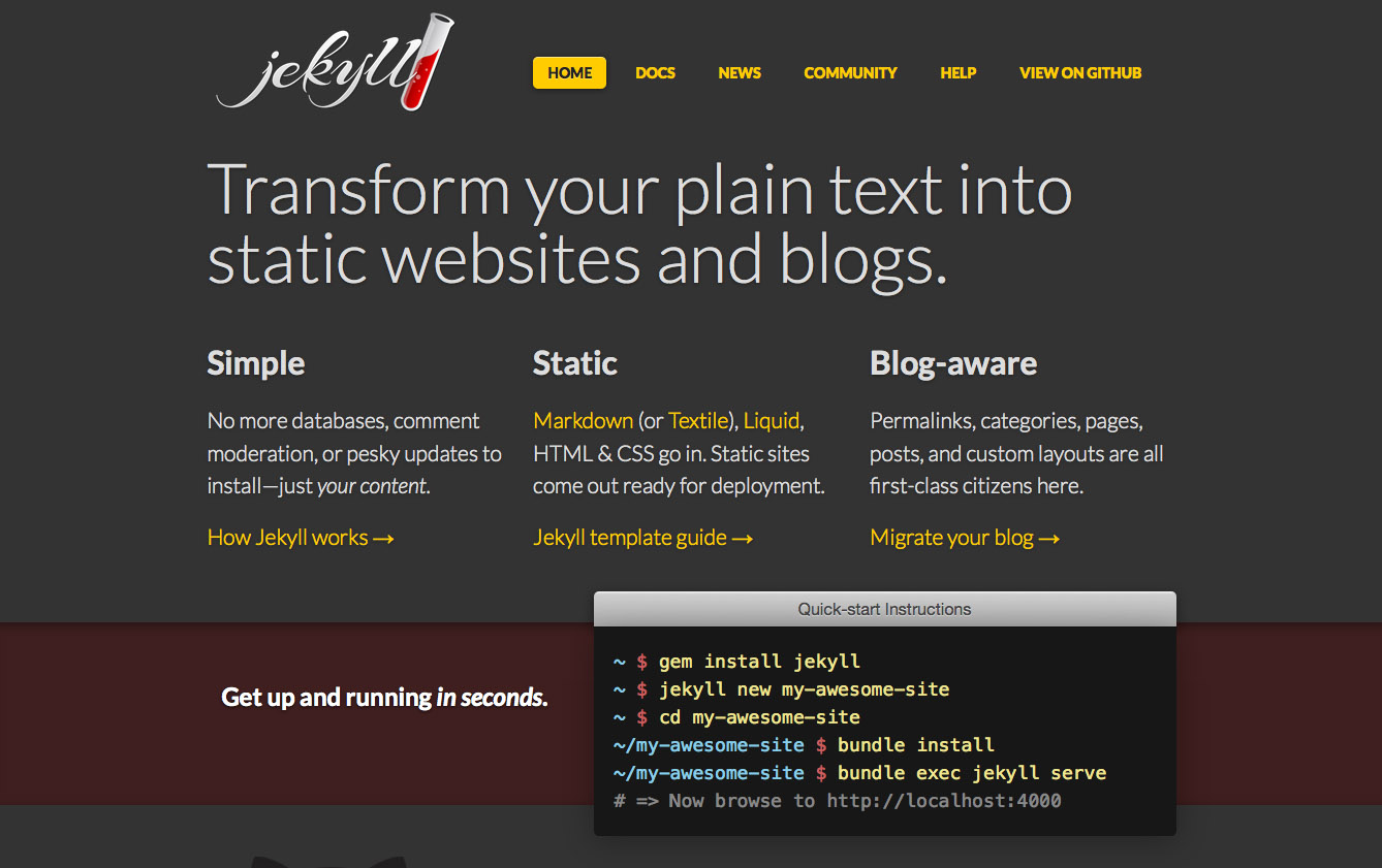 Jekyll website screenshot