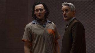 "Tom Hiddleston and Owen Wilson in ""Loki"" on Disney Plus."