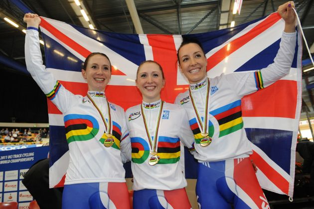 Women's team pursuit podium 2011 world track championships Apeldoorn.jpg