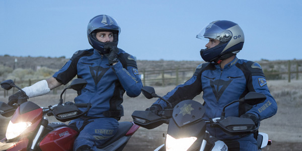 CHIPs Dax Shepard and Michael Pena in biker outfits