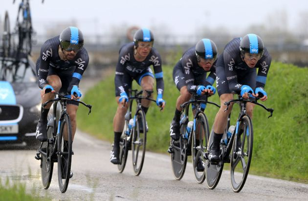Team Sky on stage two of the Coppi & Bartoli week