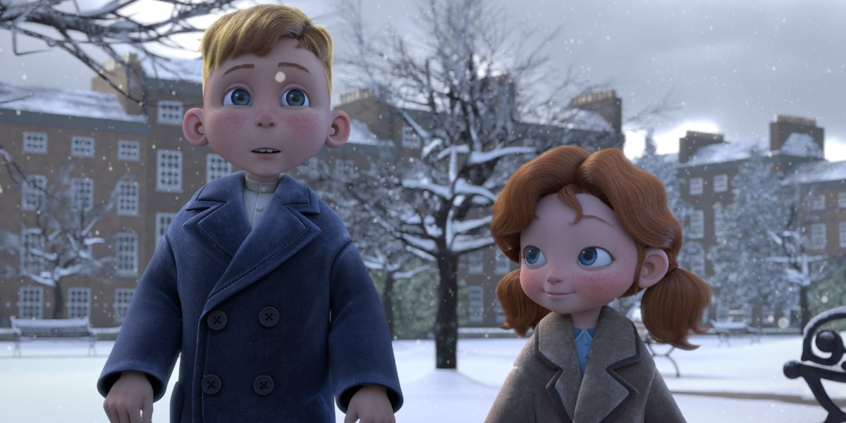 Children stand in the cold in Angela's Christmas Wish
