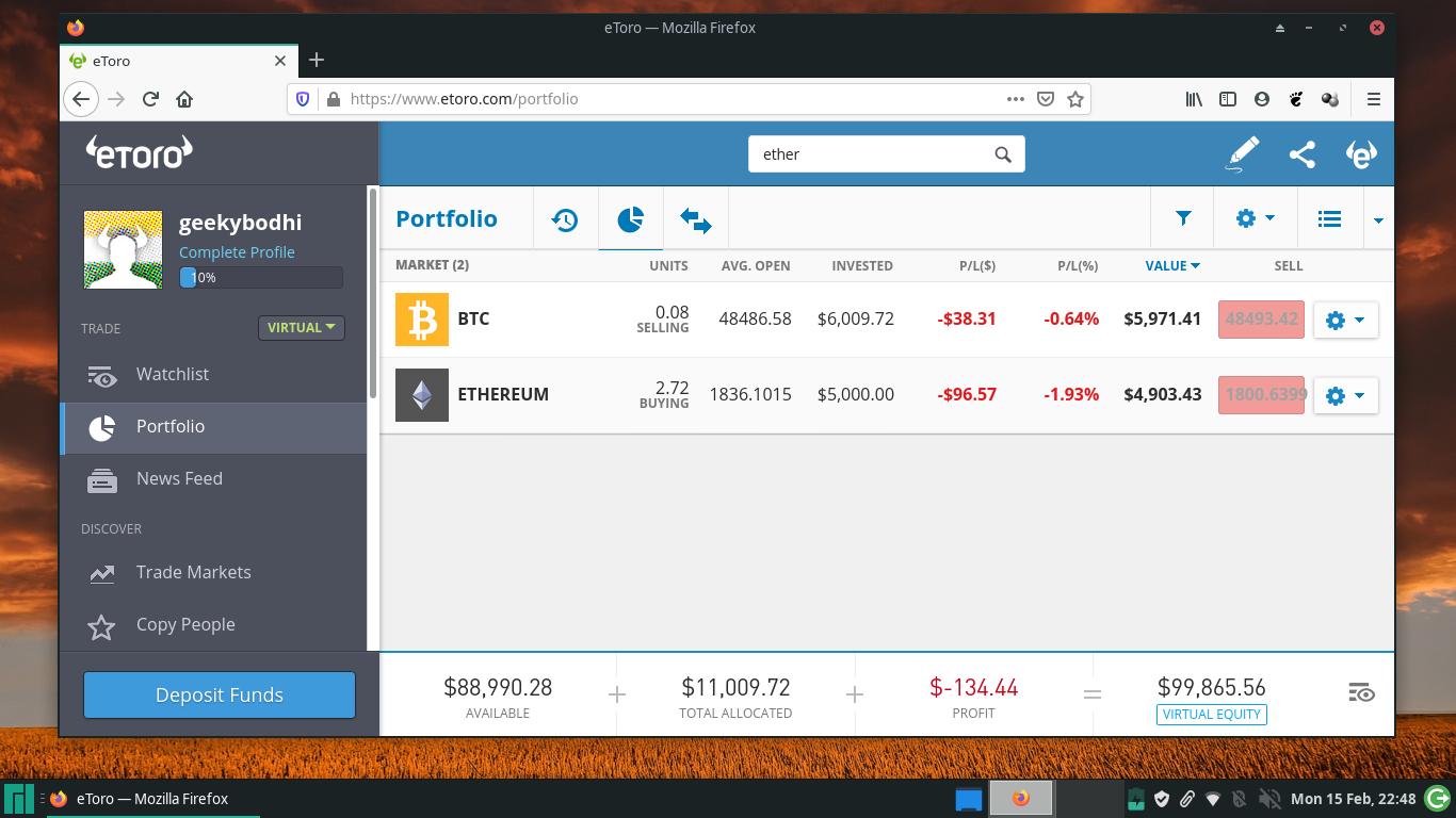 Screenshot of the eToro trading platform