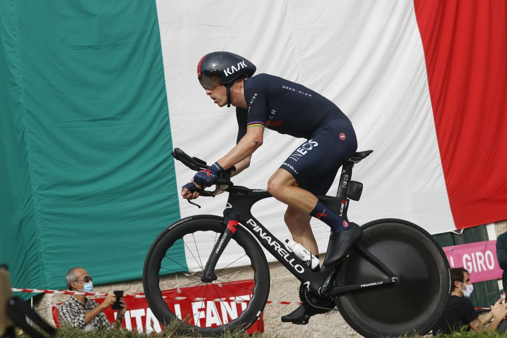 Team Ineos rider Australias Rohan Dennis rides during the fourteenth stage of the Giro dItalia 2020 cycling race a 341kilometer individual time trial between Conegliano and Valdobbiadene on October 17 2020 Photo by Luca Bettini AFP Photo by LUCA BETTINIAFP via Getty Images