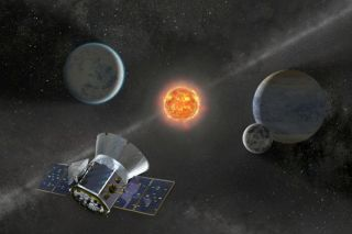Artist's illustration showing NASA's Transiting Exoplanet Survey Satellite (TESS) hunting for alien planets. A team that includes two high schoolers recently used TESS data to discover four exoplanets.