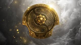 An image of the Dota 2 International 10 trophy shield.