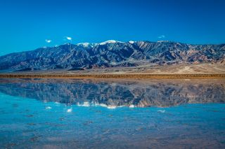 Following a storm, a miles-long lake formed in California's Death Valley National Park.
