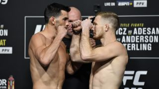 Dominick Cruz and Casey Kenney UFC 259 weigh in face off